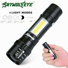 10000LM Mini COB LED Flashlight Torch 14500/AA 4Modes Zoomable Pocket Clip Light