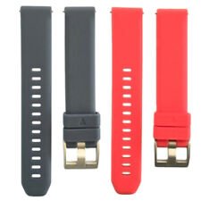 2 Pieces 20mm Silicone Quick Release Watch Band Lightweight Dark Gray+Red