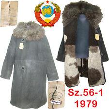 Sz.56 Rare! Soviet Guard Sheepskin Coat TULUP USSR Fur Coat Extreme cold ТУЛУП