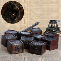 Vintage Small Wooden Lock Jewelry Necklace Bracelet Gift Storage Holder Case Box