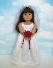 Bridal Dress, Veil & Red Bouquet
