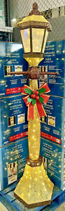 Christmas 6ft Gold Glitter Lamp Post & Bow Indoor Outdoor 120 LED Lights 2021