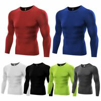 Men Quick Dry Gym Compression Under Base Layer Shirts Long Sleeve Sports Tops US
