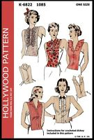 Hollywood Pattern #1085 5 Women's DICKEY'S Fabric Sewing & Crochet Vintage 40's