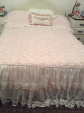 Stunning Vintage White Lace Quilt Bedspread Frill Ribbon Retro Shabby Chic doubl