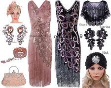 Size 6-18 Flapper 1920s Dress Vintage Gatsby Sequin Beaded Fringe Tassel Costume