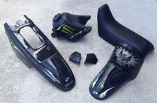New PW 50 Plastics Plastic Kit Tank Seat Fenders Black Monster Graphic Stickers