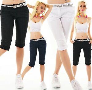Italy Capri Bermuda Shorts Stretch Dots Dots Belt S M L XL XXL