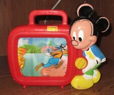 VINTAGE ARCO DISNEY MICKEY MOUSE WIND-UP MUSICAL TV Very Loved Condition
