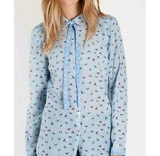 Camicia fenicotteri azzurra 100% Seta Marella Sport Nage Taglia 40