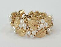 Vintagr Trifari Gold Tone Pearl Rhinestone Bracelet Leaves Flower