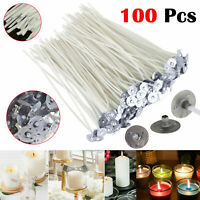 100x 15cm Long Pre Waxed Wicks For Home Candle Making Cotton With Sustainers UK