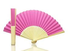 Hot Pink Paper Hand Held Bamboo and Wooden Fan - Wedding Party Prop