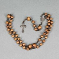 Chapelet ancien perle ronde en bois 4 dizaines