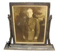 "Art Nouveau Antique Carved Swing Frame W/ 1919 Army Soldier Photograph 18"" War"