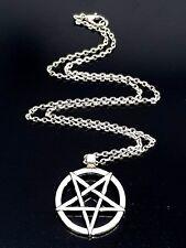 "Inverted Pentagram Satan Satanism Lucifer Pendant 18"" Chain Necklace"