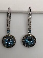10K White Gold Blue Topaz Smoky Topaz and Diamond Lever Back Dangle Earrings