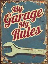 Retro My Garage My Rules Metal Aluminium Car Workshop Tool Vintage plaque SIGN