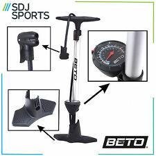 BETO ALLOY BIKE CYCLE STIRRUP FLOOR TRACK PUMP SILVER FITS PRESTA AND SCHRADER