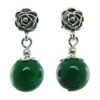 Boucles D'oreilles femme Pendantes ethnique rose en argent tibétain pierre verte