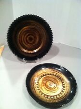 BLACK GOLD GLASS ART PLATTER & BOWL