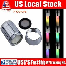7 Color Glow LED Faucet pressure Sensor Light  Shower Kitchen Water Tap US