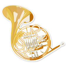 "French Horn musical instrument band car sticker 4"" x 4"""