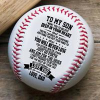 A Mi Hijo De Papá Grabado Béisbol PU Regalo Cumpleaños Madurez Nniversary US