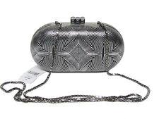 $1695 JUDITH LEIBER Enero Ebonized Silver Black Deco Minaudière Clutch Bag RARE