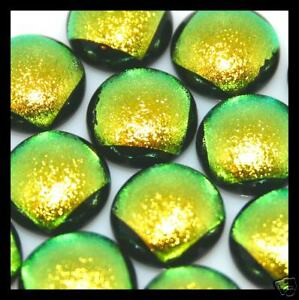 Lot of 6 YELLOW Round GLITTER Fused Glass DICHROIC Cabs NO HOLE Beads Flat Back