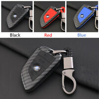 Carbon Fiber Shell+Silicone Cover Remote Key Holder Fob Case For BMW B Style