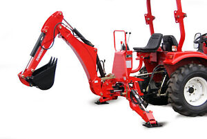 "Hydraulischer Heckbagger 180 Grad Traktor Anbaubagger Bagger 12"" Schaufel Sitz"