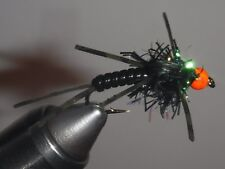 Egg Head Stonefly Nymph BLACK with ORANGE Size 8 (per 3)