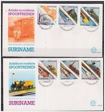 Surinam / Suriname 1985 FDC 94ab Treinen train zug chemin de fer triangle