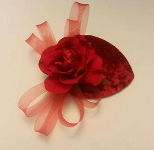 Vintage 40s 50s Hat Red Velvet Teardrop Hat Feather fascinator with Rose Flower