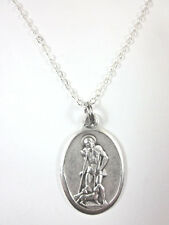 "Ladies St Lazarus Medal Italy Pendant Necklace 20"" Chain Gift Box & Prayer Card"