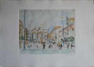 Michele Cascella acquaforte colorata a mano Piazza d'Italia 70x50 firmata 31/90