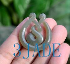 New listing Nephrite Jade Eternity Twist Pendant Necklace New Zealand Maori Style Jewelry
