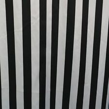 "25 Yards Black & White Stripe Print Charmeuse Satin Fabric 60"" Wide Draping"
