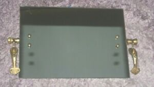 """1960's Lan-bar 24ct Gold Plated Bathroom Square Mirror 14"""" x 10"""" Dolphin Design"""