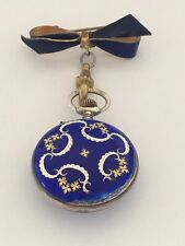 Antique Victorian Blue Enamel Silver Swiss Made Broach / Fob Watch