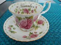 Royal Albert Flower Of The Month Chrysanthemum Bone China Teacup England& Saucer