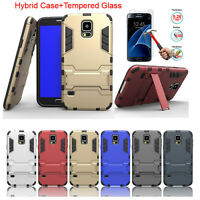 Armor Kickstand Hybrid Case + Tempered Glass Film For Samsung Galaxy S5 i9600