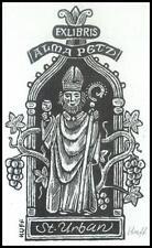Huffert Hermann X2 Exlibris Bookplate Saint Urban Grapes Trauben Alma Petz s30