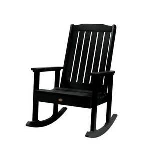 Highwood Outdoor Rocking Chair 27 in. W x 44 in. H x 32 in. D Arms Plastic Black