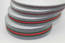 5 yd GUCCI, green red Striped Ribbon, Square Trim, Double Faced Grosgrain, new