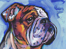 english BULLDOG DOG portrait print of fun pop art Painting 13x19""