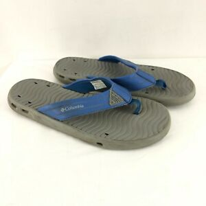 Columbia Mens Flip Flop Sandals Slides Blue Gray Size 8