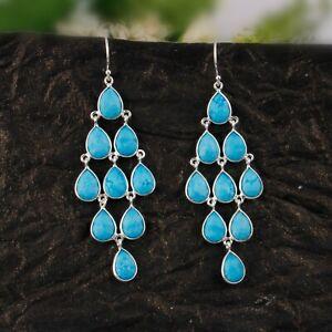 Womens Turquoise Chandelier Earring Solid 925 Silver Wedding Earring Jewelry