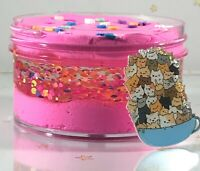 "DIY Clay Butter Slime ""Lots O Kitties"" Pink Clear Dot Glitter Charm Scent 6 8 oz"